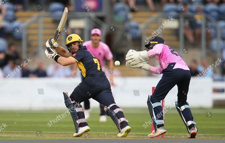 Stock Image of David Lloyd of Glamorgan seats the ball past the grasp of John Simpson of Middlesex