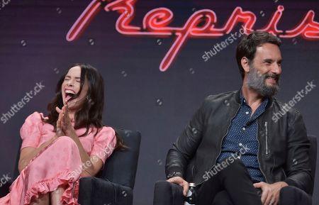 "Abigail Spencer, Rodrigo Santoro. Abigail Spencer, left, and Rodrigo Santoro participate in Hulu's ""Reprisal"" panel at the Television Critics Association Summer Press Tour, in Beverly Hills, Calif"