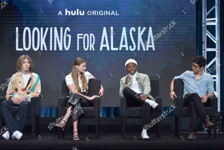 "Charlie Plummer, Kristine Froseth, Denny Love, Jay Lee. Charlie Plummer, from left, Kristine Froseth, Denny Love and Jay Lee participate in Hulu's ""Looking For Alaska"" panel at the Television Critics Association Summer Press Tour, in Beverly Hills, Calif"