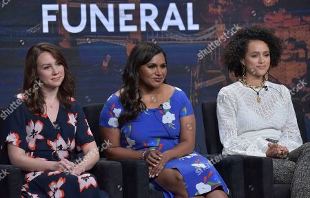 """Stock Image of Tracey Wigfield, Mindy Kaling, Nathalie Emmanuel. Showrunner/executive producer Tracey Wigfield, from left, co-creator/executive producer Mindy Kaling and Nathalie Emmanuel participate in Hulu's """"Four Weddings and a Funeral"""" panel at the Television Critics Association Summer Press Tour, in Beverly Hills, Calif"""
