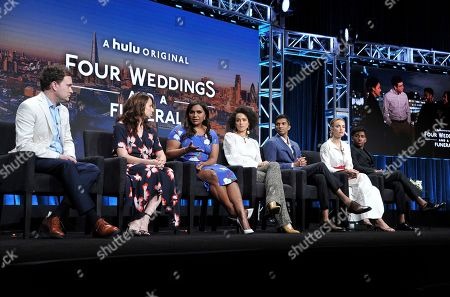 "Stock Image of Matt Warburton, Tracey Wigfield, Mindy Kaling, Nathalie Emmanuel, Nikesh Patel, Rebecca Rittenhouse, Brandon Mychal Smith. Co-creator/executive producer Matt Warburton, from left, showrunner/executive producer Tracey Wigfield, co-creator/executive producer Mindy Kaling, Nathalie Emmanuel, Nikesh Patel, Rebecca Rittenhouse and Brandon Mychal Smith participate in Hulu's ""Four Weddings and a Funeral"" panel at the Television Critics Association Summer Press Tour, in Beverly Hills, Calif"