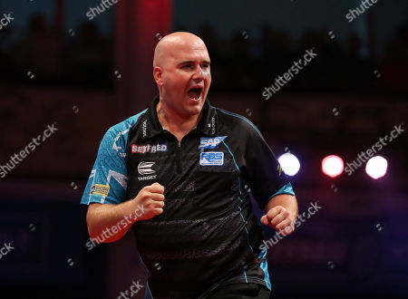 Stock Photo of Rob Cross during the last 8 of the World Matchplay Darts 2019 at Winter Gardens, Blackpool