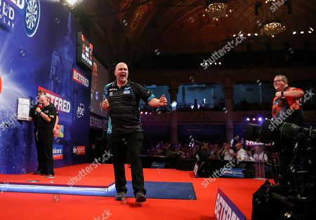 Stock Image of Rob Cross during the last 8 of the World Matchplay Darts 2019 at Winter Gardens, Blackpool