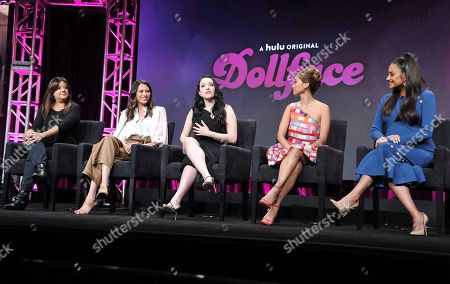 """Stephanie Laing, Jordan Weiss, Kat Dennings, Brenda Song, Shay Mitchell. Executive producer/director Stephanie Laing, from left, creator/executive producer Jordan Weiss, Kat Dennings, Brenda Song and Shay Mitchell participate in Hulu's """"Dollface"""" panel at the Television Critics Association Summer Press Tour, in Beverly Hills, Calif"""