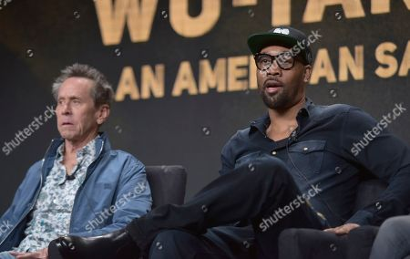 "Brian Grazer, RZA. Executive producer Brian Grazer, left, and RZA, co-creator, writer and executive producer, participate in Hulu's ""Wu-Tang: An American Saga"" panel at the Television Critics Association Summer Press Tour, in Beverly Hills, Calif"