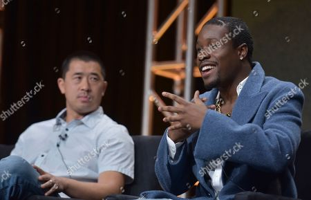 """Alex Tse, Shameik Moore. Alex Tse, co-creator, writer and executive producer, left, and Shameik Moore participate in Hulu's """"Wu-Tang: An American Saga"""" panel at the Television Critics Association Summer Press Tour, in Beverly Hills, Calif"""