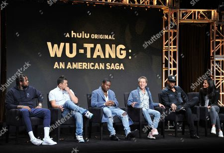 "Dave East, Alex Tse, Shameik Moore, Brian Grazer, RZA, Francie Calfo. Dave East, from left, Alex Tse, co-creator, writer and executive producer, Shameik Moore, executive producer Brian Grazer, RZA, co-creator, writer and executive producer, and executive producer Francie Calfo participate in Hulu's ""Wu-Tang: An American Saga"" panel at the Television Critics Association Summer Press Tour, in Beverly Hills, Calif"