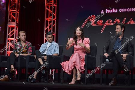 """Rhys Wakefield, Mena Massoud, Abigail Spencer, Rodrigo Santoro. Rhys Wakefield, from left, Mena Massoud, Abigail Spencer and Rodrigo Santoro participate in Hulu's """"Reprisal"""" panel at the Television Critics Association Summer Press Tour, in Beverly Hills, Calif"""