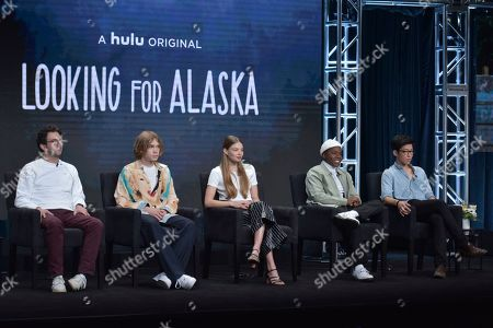 "Josh Schwartz, Charlie Plummer, Kristine Froseth, Denny Love, Jay Lee. Executive producer/director Josh Schwartz, from left, Charlie Plummer, Kristine Froseth, Denny Love and Jay Lee participate in Hulu's ""Looking For Alaska"" panel at the Television Critics Association Summer Press Tour, in Beverly Hills, Calif"