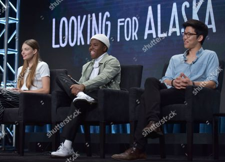 "Josh Schwartz, Charlie Plummer, Kristine Froseth, Denny Love, Jay Lee. Kristine Froseth, from left, Denny Love and Jay Lee participate in Hulu's ""Looking For Alaska"" panel at the Television Critics Association Summer Press Tour, in Beverly Hills, Calif"