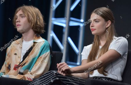 """Charlie Plummer, Kristine Froseth. Charlie Plummer, left, and Kristine Froseth participate in Hulu's """"Looking For Alaska"""" panel at the Television Critics Association Summer Press Tour, in Beverly Hills, Calif"""