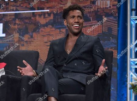 """Stock Image of Brandon Mychal Smith participates in Hulu's """"Four Weddings and a Funeral"""" panel at the Television Critics Association Summer Press Tour, in Beverly Hills, Calif"""