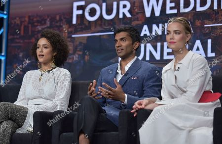 "Nathalie Emmanuel, Nikesh Patel, Rebecca Rittenhouse. Nathalie Emmanuel, from left, Nikesh Patel and Rebecca Rittenhouse participate in Hulu's ""Four Weddings and a Funeral"" panel at the Television Critics Association Summer Press Tour, in Beverly Hills, Calif"