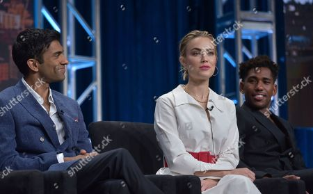 "Stock Photo of Nikesh Patel, Rebecca Rittenhouse, Brandon Mychal Smith. Nikesh Patel, from left, Rebecca Rittenhouse and Brandon Mychal Smith participate in Hulu's ""Four Weddings and a Funeral"" panel at the Television Critics Association Summer Press Tour, in Beverly Hills, Calif"