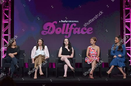 "Stephanie Laing, Jordan Weiss, Kat Dennings, Brenda Song, Shay Mitchell. Executive producer/director Stephanie Laing, from left, creator/executive producer Jordan Weiss, Kat Dennings, Brenda Song and Shay Mitchell participate in Hulu's ""Dollface"" panel at the Television Critics Association Summer Press Tour, in Beverly Hills, Calif"