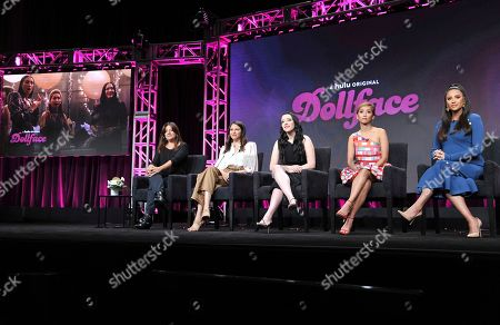 "Stock Image of Stephanie Laing, Jordan Weiss, Kat Dennings, Brenda Song, Shay Mitchell. Executive producer/director Stephanie Laing, from left, creator/executive producer Jordan Weiss, Kat Dennings, Brenda Song and Shay Mitchell participate in Hulu's ""Dollface"" panel at the Television Critics Association Summer Press Tour, in Beverly Hills, Calif"