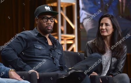 "RZA, Francie Calfo. RZA, co-creator, writer and executive producer, left, and executive producer Francie Calfo participate in Hulu's ""Wu-Tang: An American Saga"" panel at the Television Critics Association Summer Press Tour, in Beverly Hills, Calif"