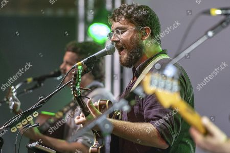 Stock Picture of Andrew Davie of the British folk- and Indieband of Bear's Den at the Blue Balls Festival in Lucerne, Switzerland, 26 July 2019. The music event runs from 19 to 27 July.