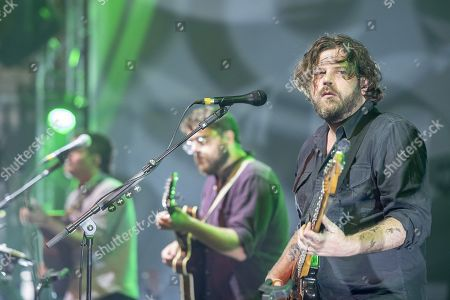Andrew Davie, centre, and Joey Haynes, right, of the British folk- and Indieband of Bear's Den at the Blue Balls Festival in Lucerne, Switzerland, 26 July 2019. The music event runs from 19 to 27 July.