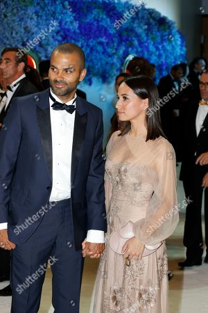 French Basketball player Tony Parker and wife Axelle Francine attends the 71st Monaco Red Cross Ball Gala, in Monaco, 26 July 2019.