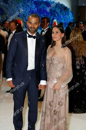 French Basketball player Tony Parker and wife Axelle Francine attend the 71st Monaco Red Cross Ball Gala, in Monaco, 26 July 2019.