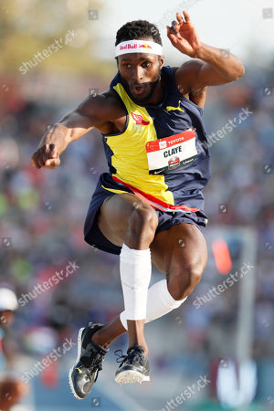 Will Claye leaps to the pit during the men's triple jump at the U.S. Championships athletics meet, in Des Moines, Iowa