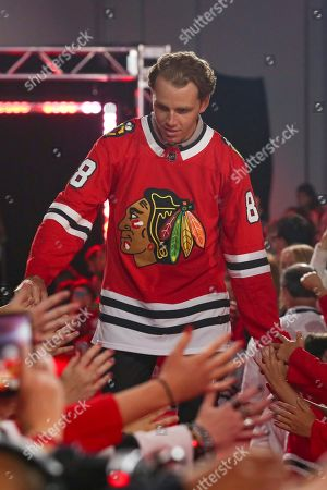 Chicago Blackhawks' Patrick Kane is introduced to fans during the NHL hockey team's convention in Chicago