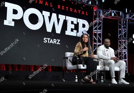"Courtney A. Kemp, Curtis Jackson. Creator/executive producer Courtney A. Kemp, left, and Curtis ""50 Cent"" Jackson participate in the Starz ""Power"" panel at the Television Critics Association Summer Press Tour, in Beverly Hills, Calif"