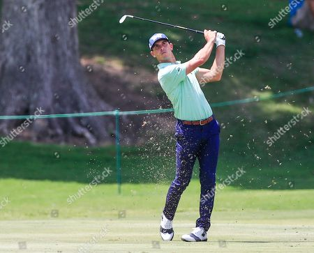 Billy Horschel of the US hits his approach shot on the fifteenth hole during the second round of the World Golf Championships  FedEx St. Jude Invitational tournament at TPC Southwind in Memphis, Tennessee, USA, 26 July 2019. Championship play runs 25 July to 28 July.