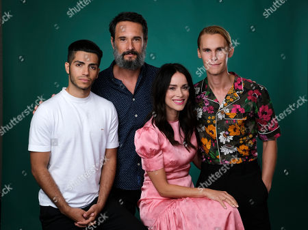 """Rhys Wakefield, Mena Massoud, Abigail Spencer, Rodrigo Santoro. Mena Massoud, from left, Rodrigo Santoro, Abigail Spencer and Rhys Wakefield, cast members in the Hulu series """"Reprisal,"""" pose together for a portrait during the 2019 Television Critics Association Summer Press Tour at the Beverly Hilton, in Beverly Hills, Calif"""