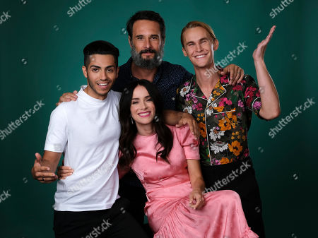 """Rhys Wakefield, Mena Massoud, Abigail Spencer, Rodrigo Santoro. From left, Mena Massoud, Rodrigo Santoro, Abigail Spencer and Rhys Wakefield, cast members in the Hulu series """"Reprisal,"""" pose together for a portrait during the 2019 Television Critics Association Summer Press Tour at the Beverly Hilton, in Beverly Hills, Calif"""