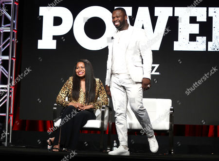 "Courtney A. Kemp, Curtis Jackson. Creator and executive producer Courtney A. Kemp, left, and executive producer Curtis ""50 Cent"" Jackson participate in the ""Power"" panel at STARZ Summer 2019 TCA Panel at The Beverly Hilton Hotel, in Beverly Hills, Calif"