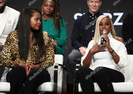 "Courtney A. Kemp, Mary J. Blige. Creator and executive producer Courtney A. Kemp, left, and Mary J. Blige participate in the ""Power"" panel at STARZ Summer 2019 TCA Panel at The Beverly Hilton Hotel, in Beverly Hills, Calif"
