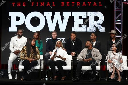 "Curtis Jackson, Courtney A. Kemp, Naturi Naughton, Joseph Sikora, Mary J. Blige, Rotimi, Omari Hardwick, Michael Rainey Jr., Larenz Tate, Lela Loren. Executive producer Curtis ""50 Cent"" Jackson, from left, creator and executive producer Courtney A. Kemp, Naturi Naughton, Joseph Sikora, Mary J. Blige, Rotimi, Omari Hardwick, Michael Rainey Jr., Larenz Tate, and Lela Loren participate in the ""Power"" panel at STARZ Summer 2019 TCA Panel at The Beverly Hilton Hotel, in Beverly Hills, Calif"