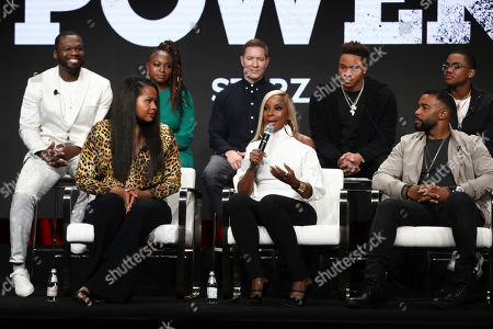 "Curtis Jackson, Courtney A. Kemp, Naturi Naughton, Joseph Sikora, Mary J. Blige, Rotimi, Omari Hardwick, Michael Rainey Jr. Executive producer Curtis ""50 Cent"" Jackson, from left, creator and executive producer Courtney A. Kemp, Naturi Naughton, Joseph Sikora, Mary J. Blige, Rotimi, Omari Hardwick, and Michael Rainey Jr. participate in the ""Power"" panel at STARZ Summer 2019 TCA Panel at The Beverly Hilton Hotel, in Beverly Hills, Calif"