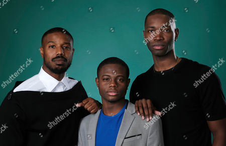 """Tarell Alvin McCraney, Michael B. Jordan, Akili McDowell. Tarell Alvin McCraney, right, creator/executive producer of the OWN series """"David Makes Man,"""" poses with executive producer Michael B. Jordan, left, and cast member Akili McDowell for a portrait during the 2019 Television Critics Association Summer Press Tour at the Beverly Hilton, in Beverly Hills, Calif"""