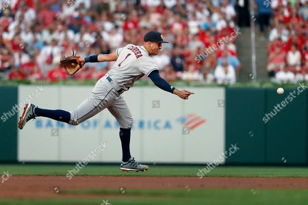 Houston Astros shortstop Carlos Correa flips the ball to force out St. Louis Cardinals' Paul DeJong at second on a grounder by Tyler O'Neill during the second inning of a baseball game, in St. Louis. DeJong was out at second and O'Neill was safe at first