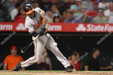 Baltimore Orioles shortstop Richie Martin (1) singles during the game between the Baltimore Orioles and the Los Angeles Angels of Anaheim at Angel Stadium in Anaheim, CA, (Photo by Peter Joneleit, Cal Sport Media)