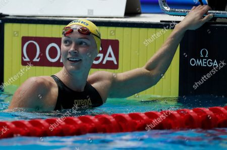 Sweden's Sarah Sjostrom celebrates after winning the women's 50m butterfly final at the World Swimming Championships in Gwangju, South Korea