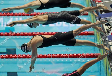 United States' Katie Ledecky starts in the women's 800m freestyle final at the World Swimming Championships in Gwangju, South Korea