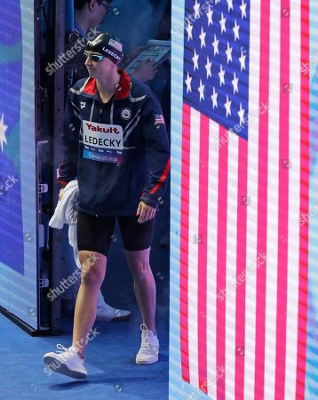 United States' Katie Ledecky walks onto the pool deck for the women's 800m freestyle final at the World Swimming Championships in Gwangju, South Korea