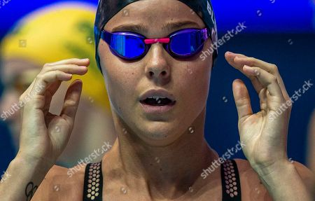 Stock Photo of Pernille Blume of Denmark prepares herself before competing in the women's 50m Freestyle heats during the Gwangju 2019 FINA World Championships in Gwangju, South Korea, 27 July 2019.