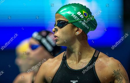 Stock Picture of Etiene Medeiros of Brazil prepares herself before competing in the women's 50m Freestyle heats during the Gwangju 2019 FINA World Championships in Gwangju, South Korea, 27 July 2019.