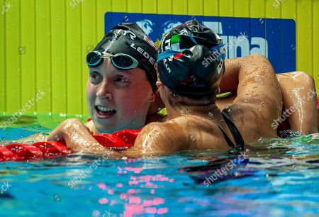 Katie Ledecky (L) of the United States of America (USA) is being congratulated by second placed Simona Quadarella of Italy after winning in the womenÕs 800m Freestyle Final during the Swimming events at the Gwangju 2019 FINA World Championships, Gwangju, South Korea, 27 July 2019.