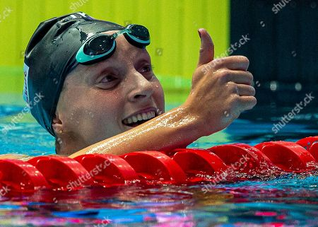 Katie Ledecky of the United States of America (USA) reacts after winning in the womenÕs 800m Freestyle Final during the Swimming events at the Gwangju 2019 FINA World Championships, Gwangju, South Korea, 27 July 2019.