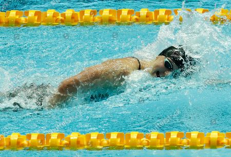 Stock Image of Katie Ledecky of USA competes in the women's 800 m Freestyle final at the 2019 FINA Swimming World Championships in Gwangju, South Korea, 27 July 2019