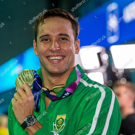 Chad Le Clos of South Africa poses with his Bronze medal after finishing third in the men's 100m Butterfly Final during the Swimming events at the Gwangju 2019 FINA World Championships, Gwangju, South Korea, 27 July 2019.