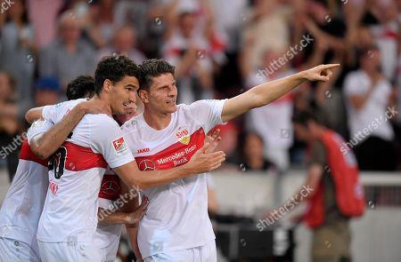 26.07.2019, Football 2.Bundesliga 2019/2020, 1. match day, VfB Stuttgart - Hannover 96, in Mercedes-Benz-Arena Stuttgart,  Mario Gomez (re, Stuttgart) and Marcin Kaminski (li, Stuttgart).