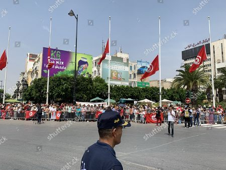 Tunisians gather in the Avenue Mohamed V where the convoy of the gasket of late President Beji Caid Essebsi is due to pass by heading towards the cemetery in Tunis, Tunisia, 27 July 2019. President of Tunisia Beji Caid Essebsi died at age 92 on 25 July 2019. Several heads of states or representatives are expected to gather at the Presidential Palace on 27 July to pay their respects before his burial later the same day.    BEST QUALITY AVAILABLE