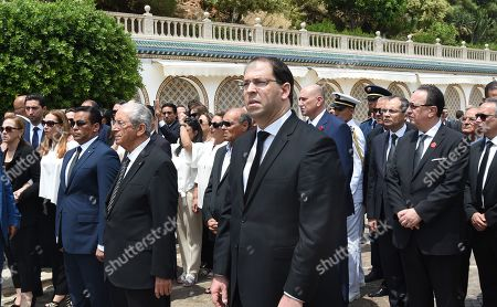 Prime Minister Youssef Chahed (C, front), former president Moncef Marzouki (C-L, behind), interim Tunisian president Mohamed Ennaceur (4-L), and Essebsi's son Hafedh Caid Essebsi (2-R) during late Tunisian president Beji Caid Essebsi's state funeral at the presidential palace in the eastern suburb of Carthage, Tunis, Tunisia, 27 July 2019. Essebsi, the country's first head of state elected in nationwide polls, died on 25 July at the age of 92, triggering fears of political unrest in a country seen as a rare success story following the Arab Spring uprisings.